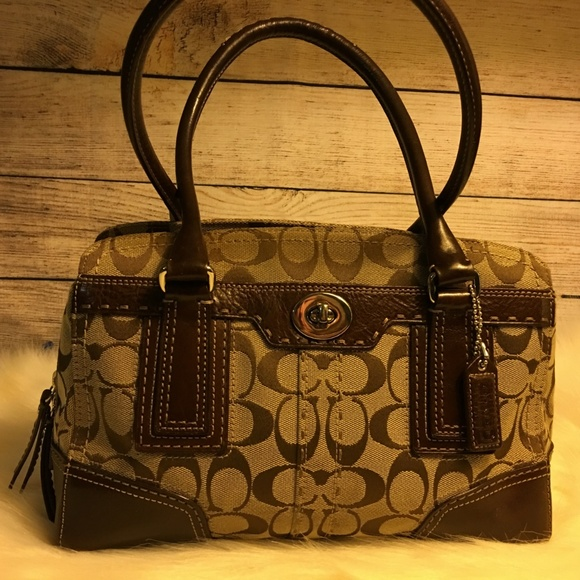 7269eccac5 Coach Bags | Hampton Khaki Signature Canvas Satchel 11592 | Poshmark
